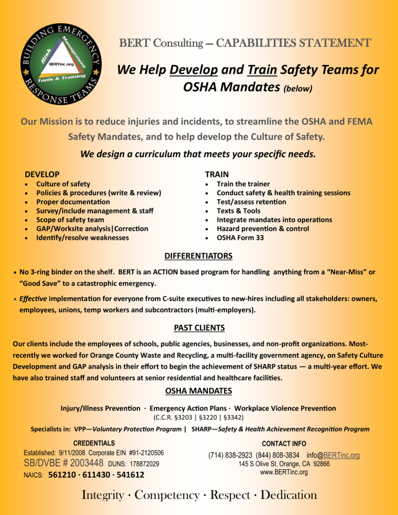 BERT - Developing the OSHA Culture of Safety | Capabilities